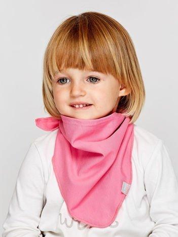Gładka trójkątna chustka dla dziewczynki jasnoróżowa