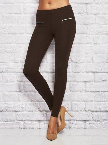 Gładkie legginsy z zamkami ciemnobrązowe