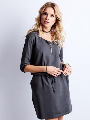 Grafitowa bawełniana sukienka z kieszeniami