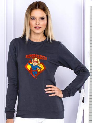 Grafitowa bluza damska SUPER BABCIA