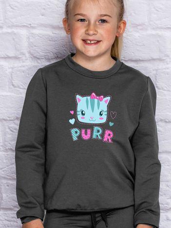 Grafitowa bluza dla dziewczynki z kotkiem