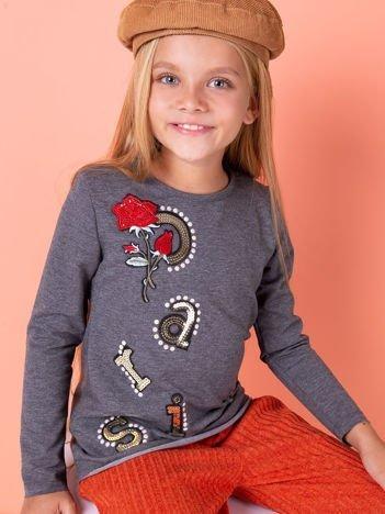 Grafitowa bluzka dziewczęca z naszywkami
