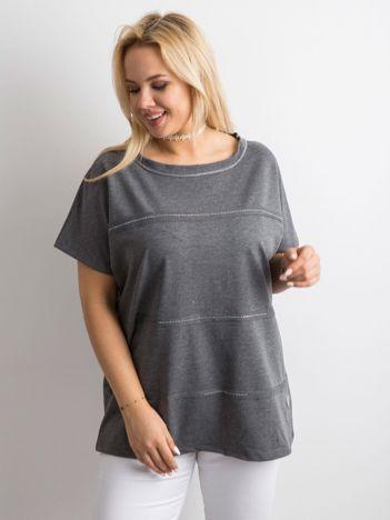 Grafitowa bluzka plus size z aplikacją