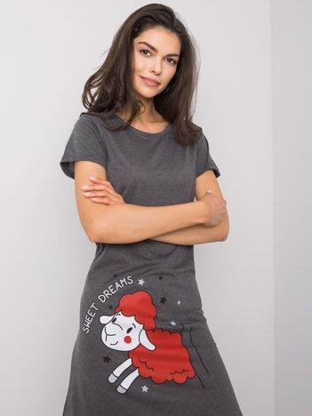 Grafitowa koszula nocna z bawełny