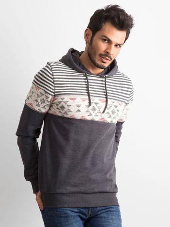 Grafitowa męska bluza we wzory