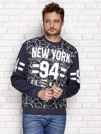 Grafitowa ocieplana bluza męska z napisem NEW YORK 94