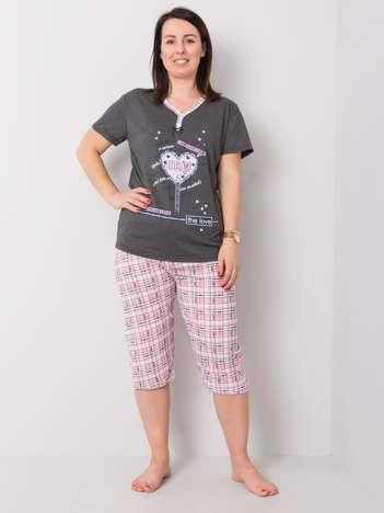 Grafitowa piżama bawełniana plus size