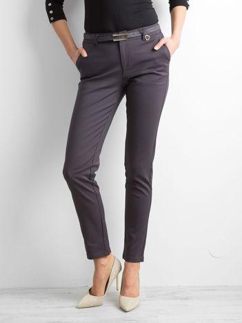 Grafitowe eleganckie spodnie z paskiem