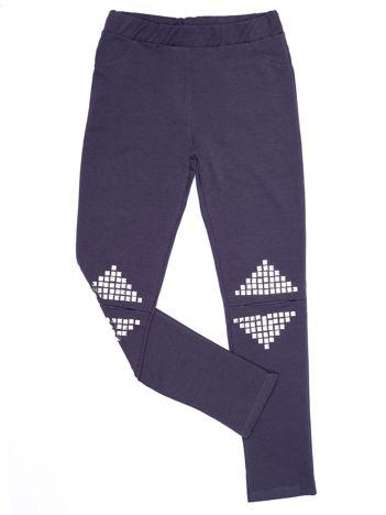 Grafitowe legginsy dla dziewczynki z rozcięciami i aplikacją