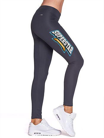 Grafitowe legginsy sportowe z nadrukiem SUPERSTAR