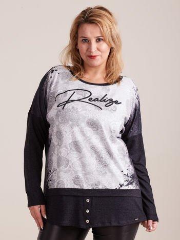 Grafitowo-szara bluzka z koronkowym nadrukiem PLUS SIZE