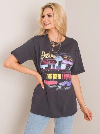 Grafitowy t-shirt Drive RUE PARIS