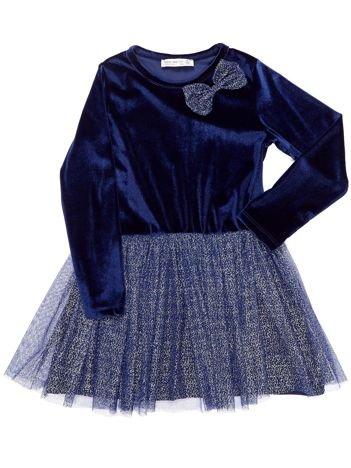Granatowa aksamitna sukienka dla dziewczynki