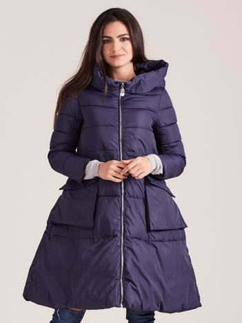 Granatowa asymetryczna kurtka zimowa