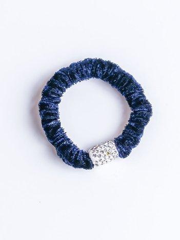 Granatowa atłasowa nieplącząca włosów gumka z cyrkoniami