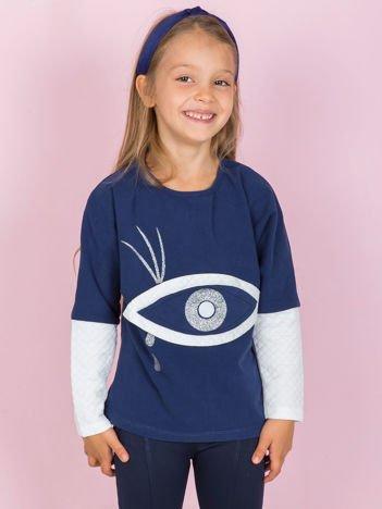 Granatowa bawełniana bluza dziewczęca z okiem i pikowaniem