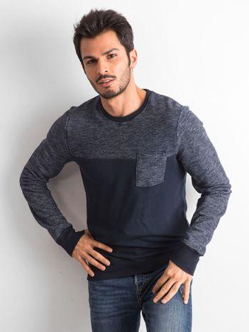 Granatowa bawełniana bluza męska z kieszenią