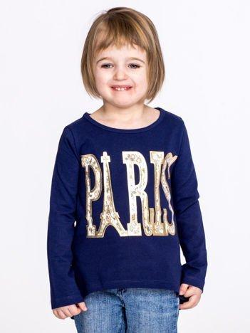 Granatowa bawełniana bluzka dziewczęca z napisem PARIS