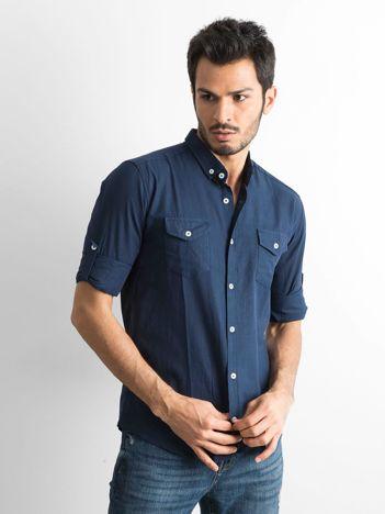 Granatowa bawełniana koszula męska