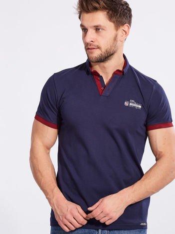 Granatowa bawełniana męska koszulka polo