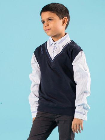 Granatowa bluza chłopięca z koszulą w paski