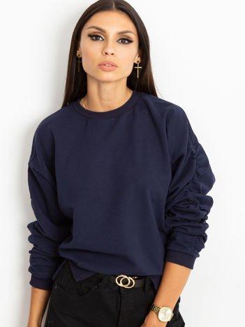 Granatowa bluza damska z marszczonymi rękawami