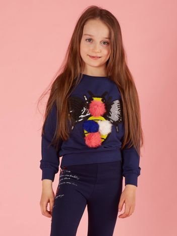 Granatowa bluza dla dziewczynki z kolorową aplikacją