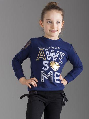 Granatowa bluza dla dziewczynki z nadrukiem