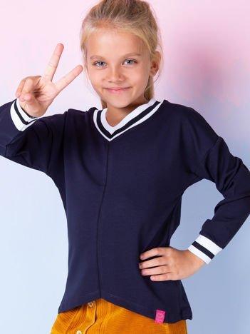 Granatowa bluza dziewczęca V-neck ze ściągaczami
