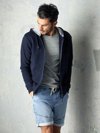 Granatowa bluza męska z kapturem rozpinana