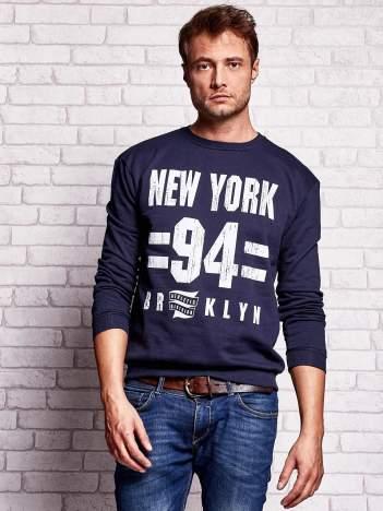 Granatowa bluza męska z napisem NEW YORK