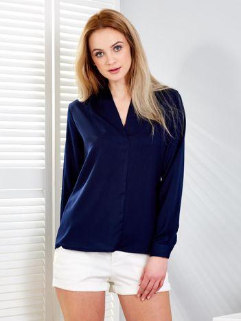Granatowa bluzka V-neck