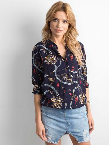 Granatowa bluzka damska we wzory