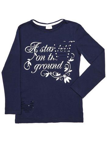 Granatowa bluzka dla dziewczynki cut out z nadrukiem