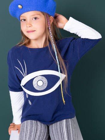 Granatowa bluzka dla dziewczynki z bawełny