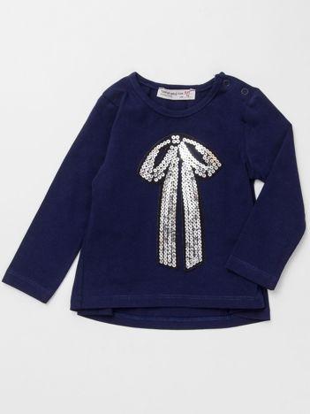 Granatowa bluzka dla dziewczynki z cekinową aplikacją