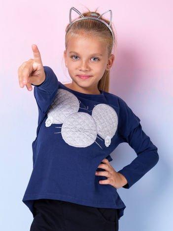 Granatowa bluzka dla dziewczynki z pikowaną wstawką