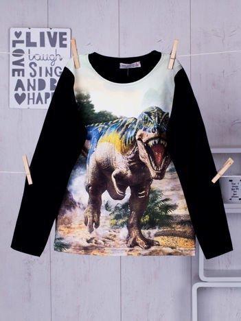 Granatowa bluzka dziecięca z nadrukiem Tyranozaura