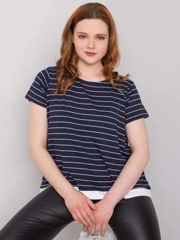 Granatowa bluzka plus size w paski Lilianne