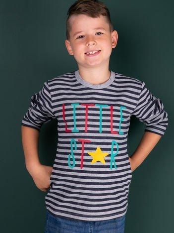 Granatowa bluzka w paski dla dziewczynki z napisem LITTLE STAR