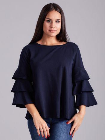 Granatowa bluzka z ozdobnymi rękawami
