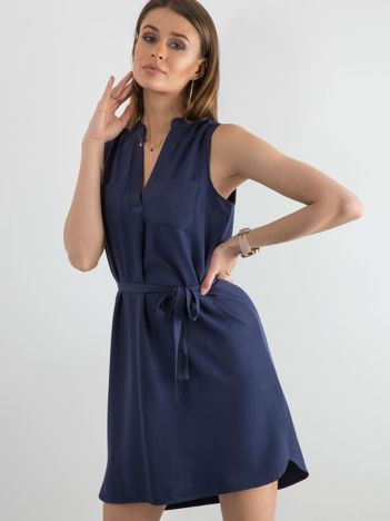 Granatowa damska sukienka z paskiem