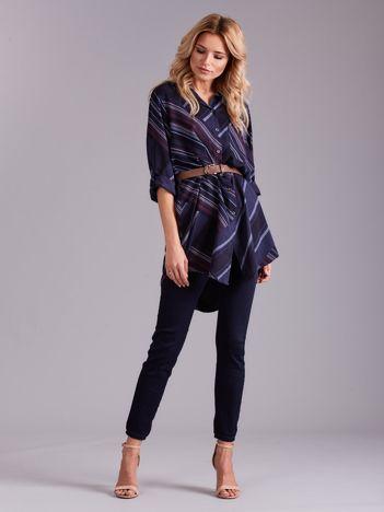 Granatowa długa koszula damska