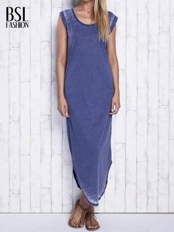 Granatowa długa sukienka acid wash