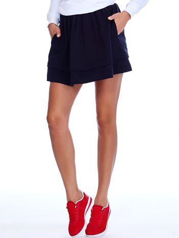 Granatowa dresowa spódnica z kieszeniami