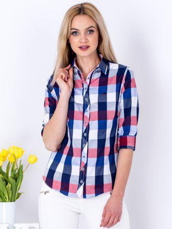 Granatowa koszula damska w kolorową kratę