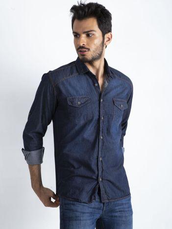 Granatowa koszula męska Denim