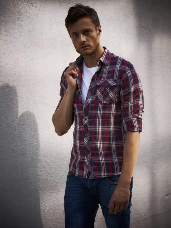 Granatowa koszula męska w kratkę