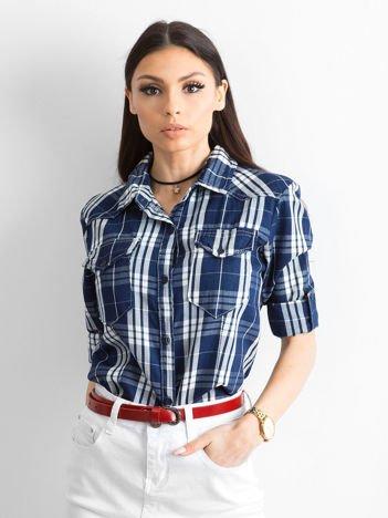 Granatowa koszula w kratkę z podwijanymi rękawami