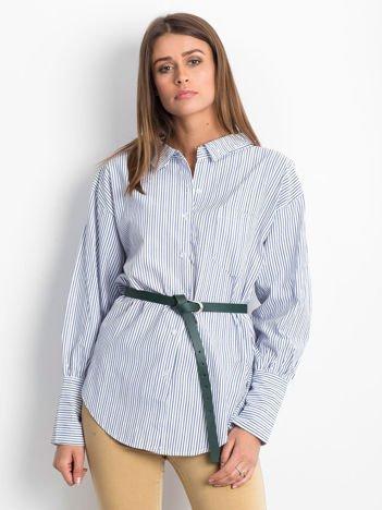 Granatowa koszula z biżuteryjnym kółkiem